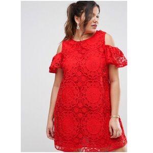 ASOS Curve lace cold shoulder mini dress
